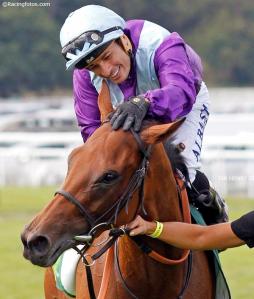 Arabian Queen (IRE) luego de ganar el Juddmonte International Foto Cortesía de Racing Photos