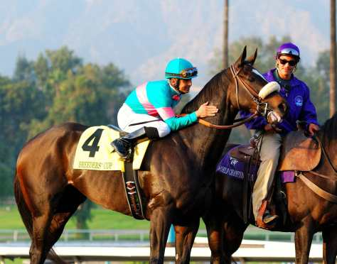 Zenyatta (USA) con Mike Smith. Foto Cortesía de fanpop.com
