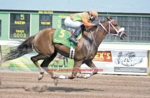 Franfield (JAM) ganando en Governor General Stakes. Foto Cortesía de Jamaica Observer