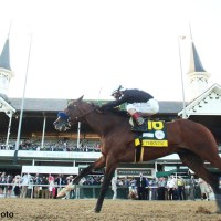 Authentic (USA) le agua la fiesta a Tiz The Law (USA) en el Kentucky Derby